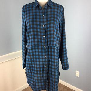 New J Jill Layered Long Button Tunic Blouse XS S